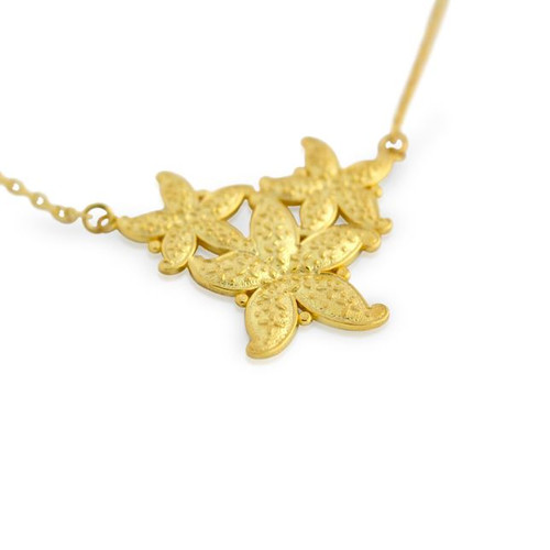 "GOLD PLATED STARFISH NECKLACE 16"" + 2"""
