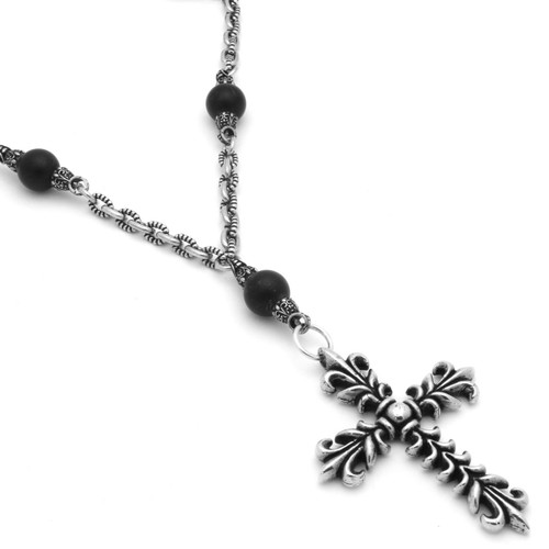 TWISTED BLADE SILVER AND AGATE BEADED NECKLACE WITH FLEUR DE LIS CROSS
