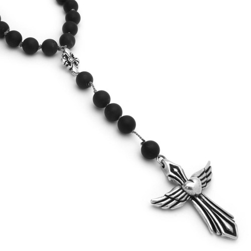 Twisted blade rosary necklace with large onyx beads and heartwings twisted blade rosary necklace with large agate beads and heartwings cross 28 aloadofball Gallery