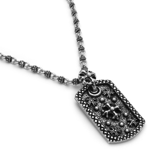 TWISTED BLADE SILVER 5.5MM STUDDED LINK NECKLACE WITH CROSS FLEURY TAG PENDANT