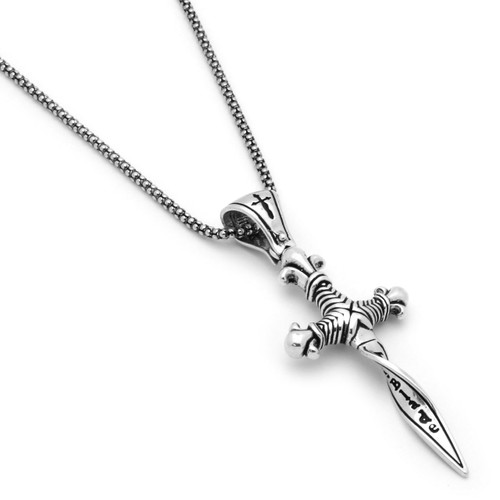 """TWISTED BLADE SILVER 24"""" necklace with dagger pendant"""