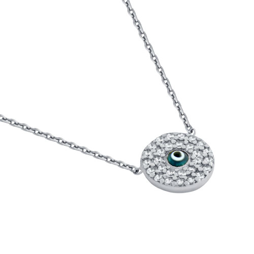 "RHODIUM PLATED CLEAR CZ ROUND NECKLACE WITH DARK BLUE EYE 16""+1"""