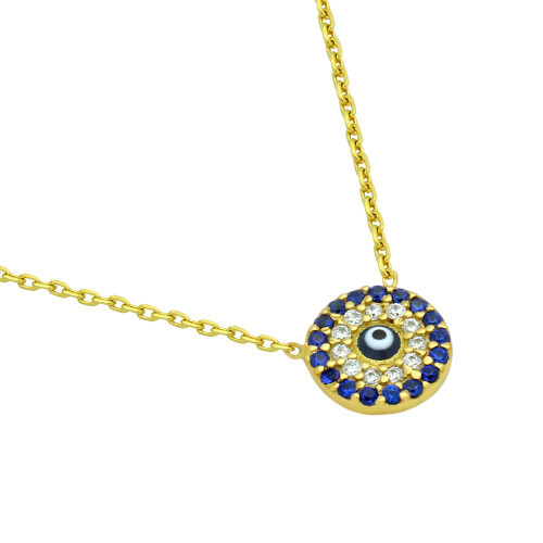 "GOLD PLATED DARK BLUE EYE NECKLACE WITH CLEAR AND BLUE CZ 16""+1"""