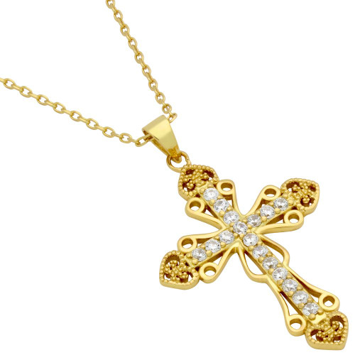 "GOLD PLATED PAVE CZ INTRICATE CROSS NECKLACE WITH HEARTS 16"" + 2"""