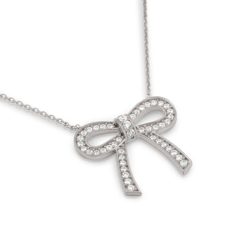 RHODIUM PLATED PLATED CZ BOW  NECKLACE 18""