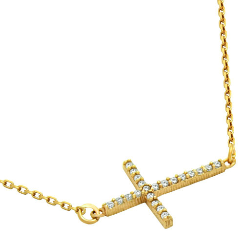 "GOLD PLATED SIDEWAYS CROSS CZ NECKLACE ADJUSTABLE 16""+2"""