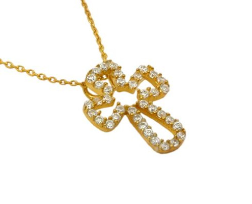 "GOLD PLATED CZ CUTOUT CROSS NECKLACE 16""+1"" ADJUSTABLE"