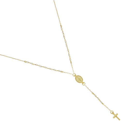 """GOLD PLATED PEARL ROSARY NECKLACE 18"""" + 2"""""""