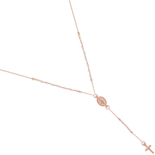 "ROSE GOLD PLATED PEARL ROSARY NECKLACE 18"" + 2"""