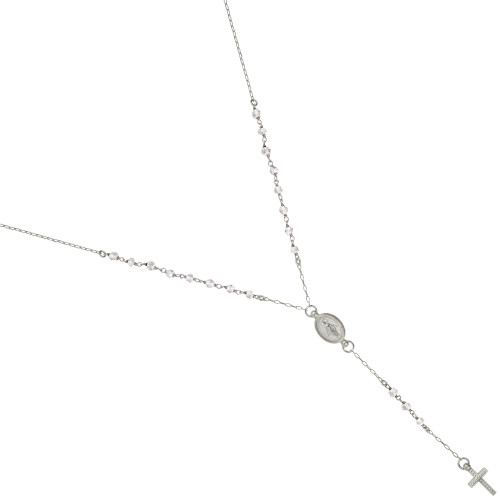 """RHODIUM PLATED MOONSTONE ROSARY NECKLACE 18"""" + 2"""""""
