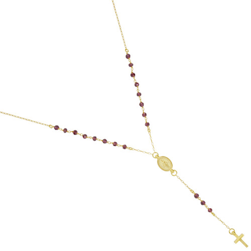 "GOLD PLATED GARNET ROSARY NECKLACE 18"" + 2"""