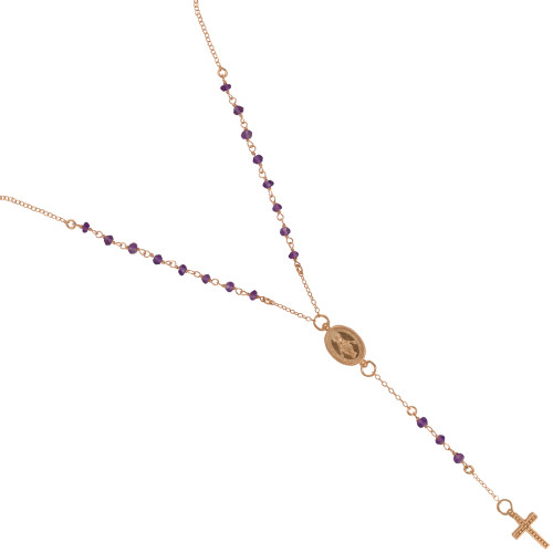"ROSE GOLD PLATED AMETHYST ROSARY NECKLACE 18"" + 2"""