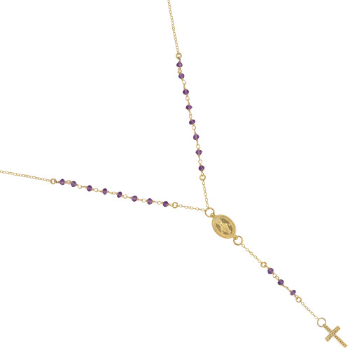 "GOLD PLATED AMETHYST ROSARY NECKLACE 18"" + 2"""
