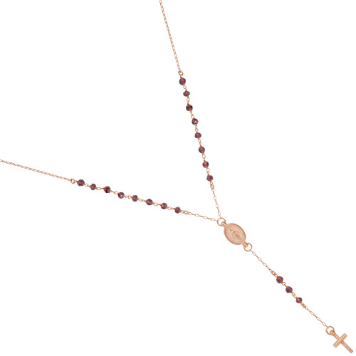 "ROSE GOLD PLATED GARNET ROSARY NECKLACE 18"" + 2"""