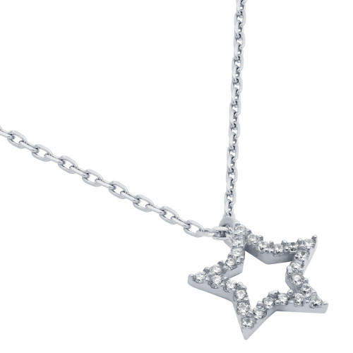"RHODIUM PLATED CZ STAR NECKLACE 16"" + 2"""