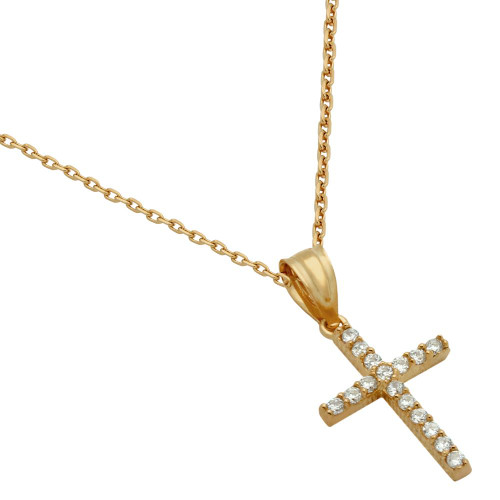 ROSE GOLD PLATED SMALL CZ CROSS NECKLACE