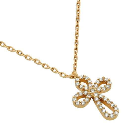 "ROSE GOLD PLATED ROUNDED CROSS CZ NECKLACE 16"" + 2"""