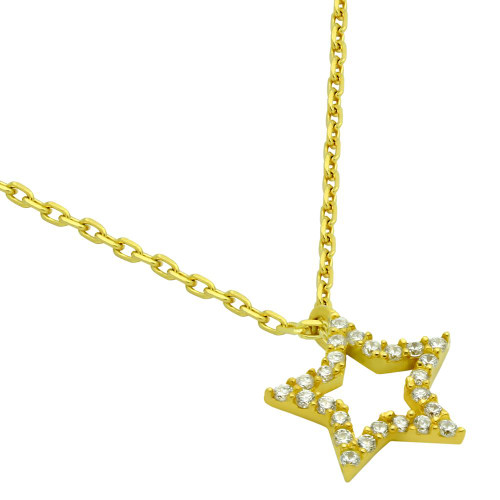 "GOLD PLATED CZ STAR NECKLACE 16"" + 2"""