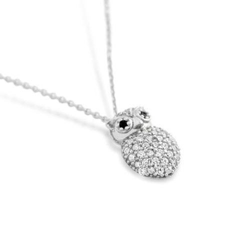 """RHODIUM PLATED CZ OWL NECKLACE IN 16"""" + 2"""""""