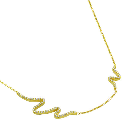 "GOLD PLATED CZ WAVE DESIGN NECKLACE 16"" + 2"""