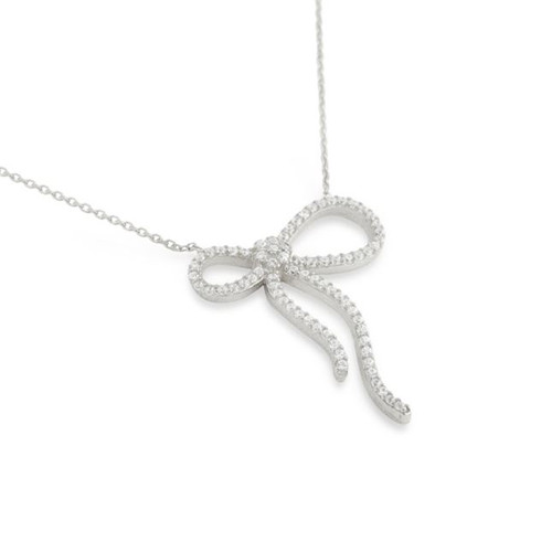 "RHODIUM PLATED CZ BOW NECKLACE IN 16"" + 2"""
