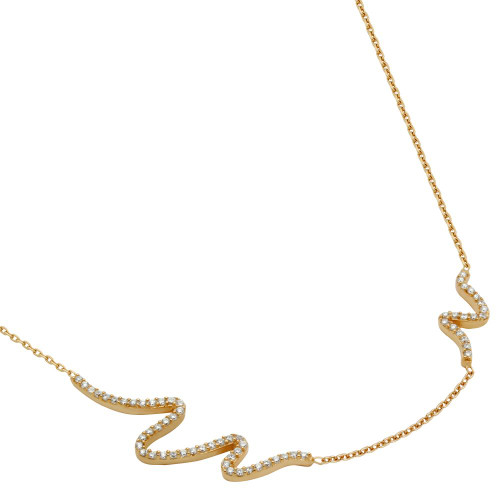 "ROSE GOLD PLATED CZ WAVE DESIGN NECKLACE 16"" + 2"""