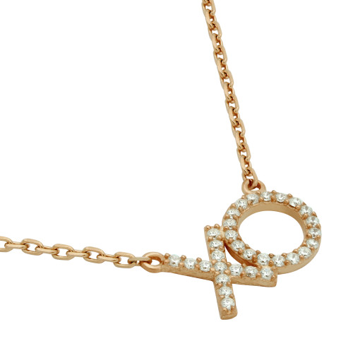 """ROSE GOLD PLATED CZ """"XO"""" NECKLACE 16"""" + 2"""""""