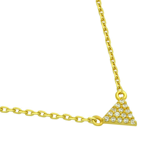 """GOLD PLATED CZ TRIANGLE NECKLACE 16"""" + 2"""""""