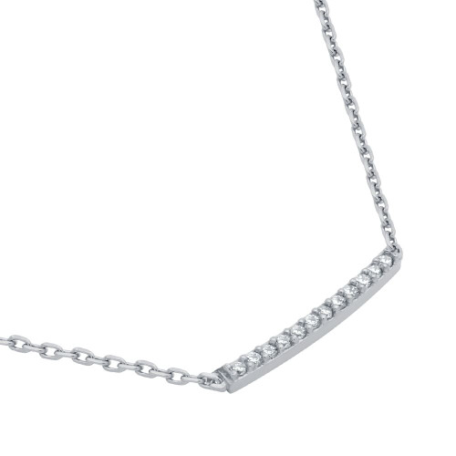 "RHODIUM PLATED SINGLE ROW CZ BAR NECKLACE 16"" + 2"""