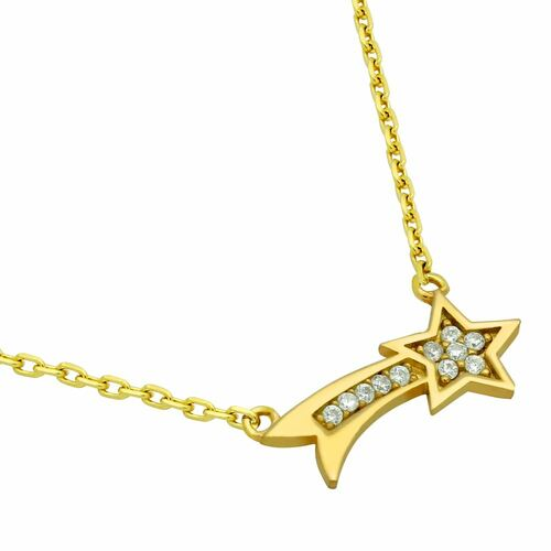 """GOLD PLATED SHOOTING STAR CZ NECKLACE 16"""" + 2"""""""