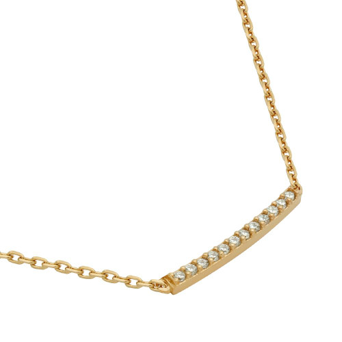 """ROSE GOLD PLATED SINGLE ROW CZ BAR NECKLACE 16"""" + 2"""""""