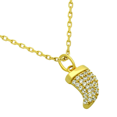 """GOLD PLATED CZ HORN NECKLACE 16"""" + 2"""""""