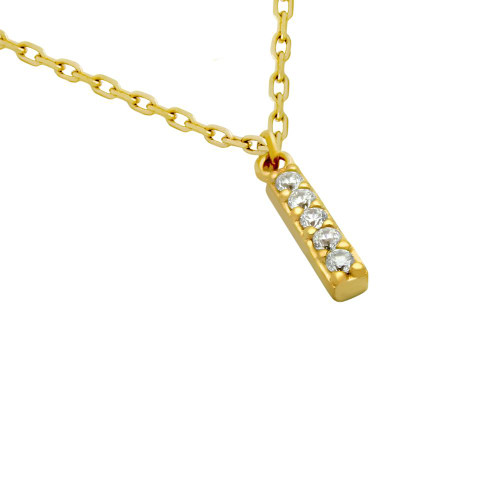 """GOLD PLATED 12MM CZ BAR NECKLACE 16"""" + 2"""""""