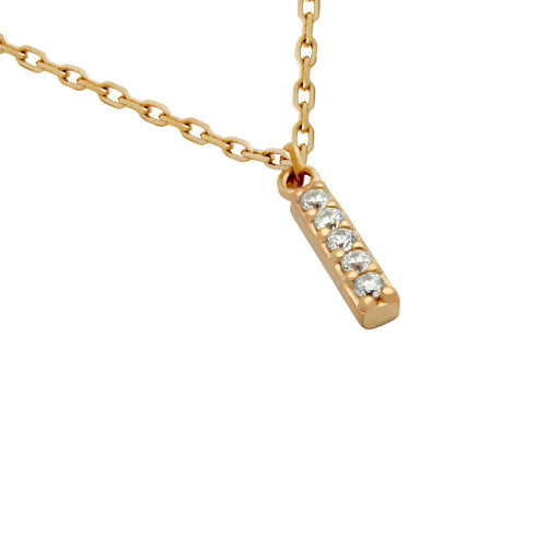 "ROSE GOLD PLATED 12MM CZ BAR NECKLACE 16"" + 2"""