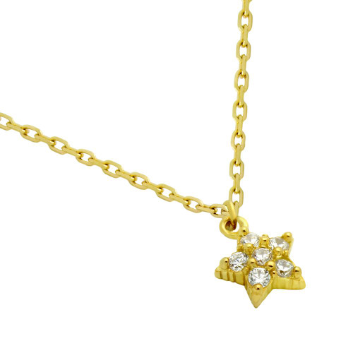 """GOLD PLATED STAR CZ CLUSTER NECKLACE 16"""" + 2"""""""