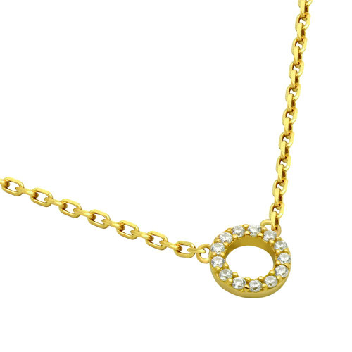 "GOLD PLATED 7MM CZ ETERNITY CIRCLE NECKLACE 16"" + 2"""