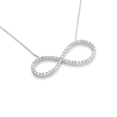"RHODIUM PLATED CZ PAVE INFINITY SYMBOL NECKLACE 16"" + 2"