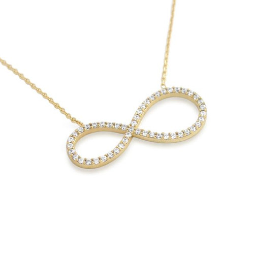 "GOLD PLATED CZ PAVE INFINITY SYMBOL NECKLACE 16"" + 2"