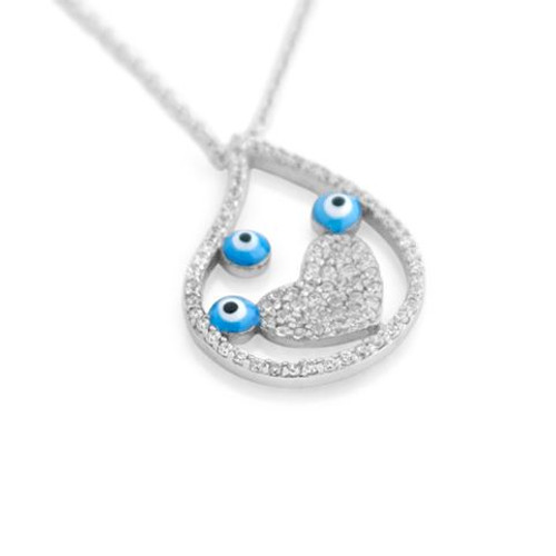 "RHODIUM PLATED TEAR DROP SHAPE NECKLACE WITH CZ HEART AND EYE 16"" + 2"""