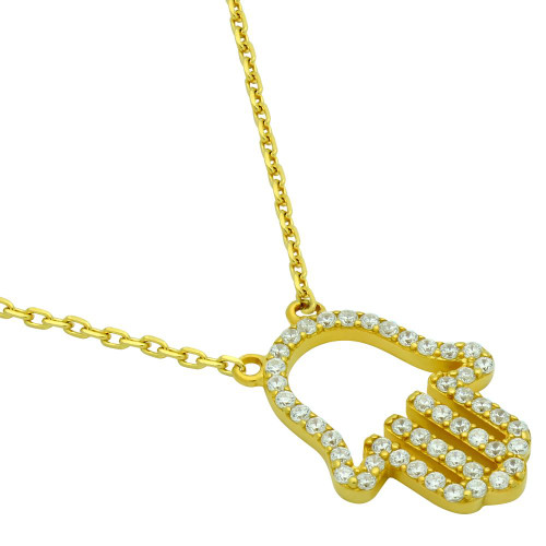"GOLD PLATED CZ PAVE HAMSA OUTLINE NECKLACE 16"" + 2"""