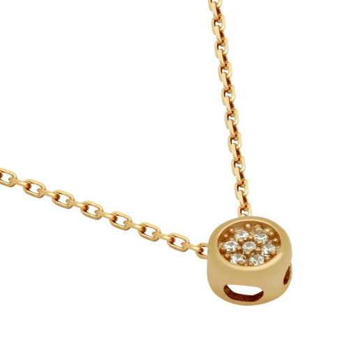 """ROSE GOLD PLATED ROUND CZ CLUSTER NECKLACE 16"""" + 2"""""""