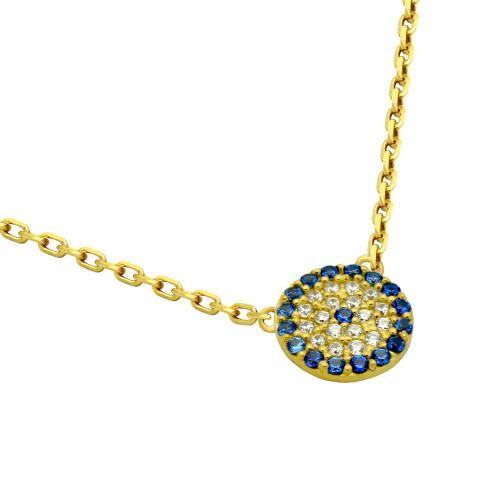 "GOLD PLATED BLUE EYE CZ PAVE NECKLACE 16"" + 2"""