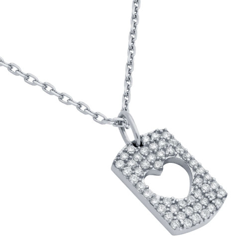 "RHODIUM PLATED CZ PAVE TAG NECKLACE WITH CUTOUT HEART 16"" + 2"""