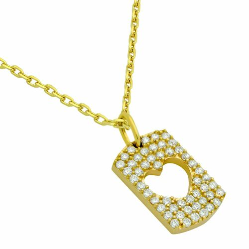 "GOLD PLATED CZ PAVE TAG NECKLACE WITH CUTOUT HEART 16"" + 2"""