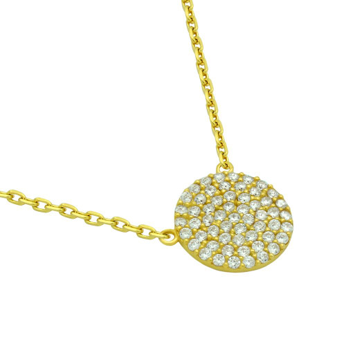 """GOLD PLATED 12MM CZ PAVE DISK NECKLACE 16"""" + 2"""""""