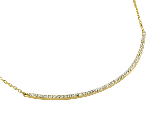 "GOLD PLATED LARGE CURVED CZ BAR NECKLACE 16"" + 2"""