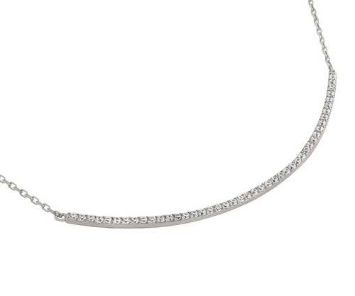 "RHODIUM PLATED LARGE CURVED CZ BAR NECKLACE 16"" + 2"""