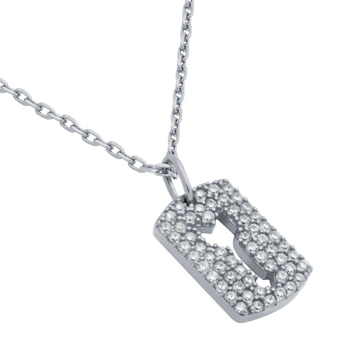 "RHODIUM PLATED CZ PAVE TAG NECKLACE WITH CUTOUT ARROW 16"" + 2"""