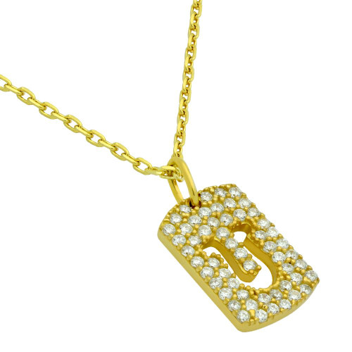 """GOLD PLATED CZ PAVE TAG NECKLACE WITH CUTOUT HORSESHOE 16"""" + 2"""""""