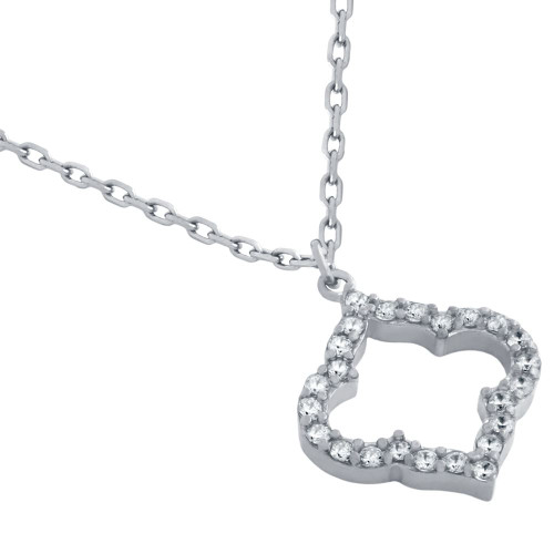 "RHODIUM PLATED CZ CUTOUT ROYAL CLOVER NECKLACE 16"" + 2"""